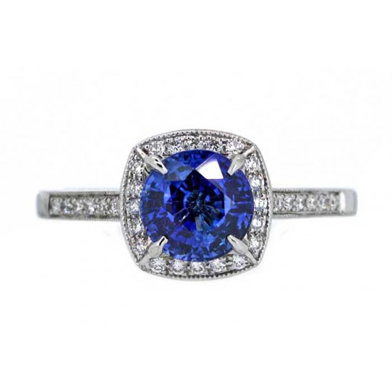 Milgrain pave cushion halo sapphire ring