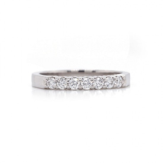 Platinum Shared Prong Seven Diamond Band .30 CT TW
