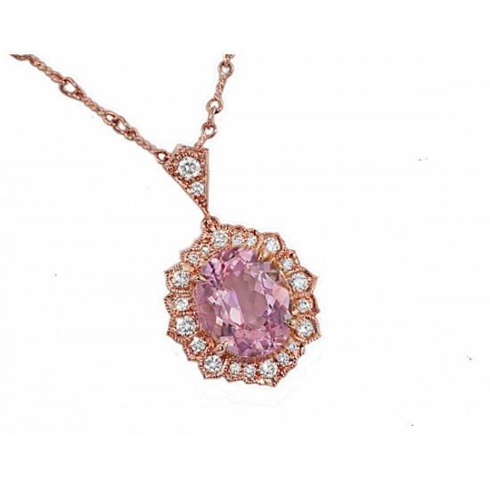 Morganite fancy diamond halo 18k rose gold pendant