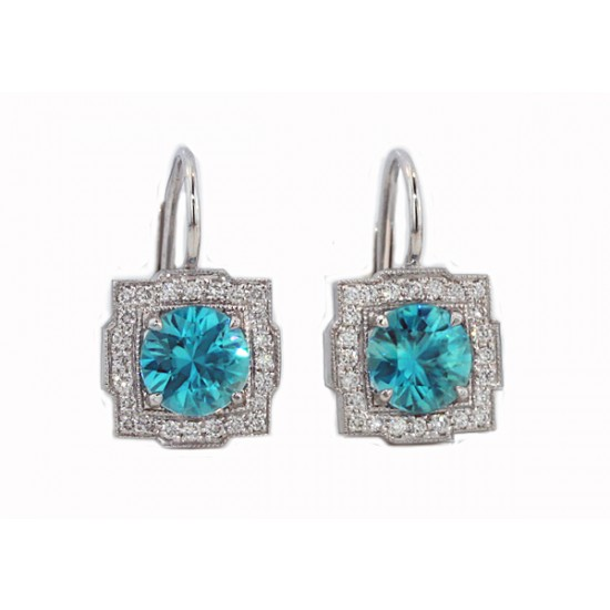 2.87ctw blue Zircon pave' border earrings