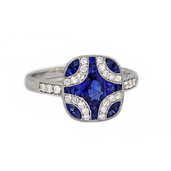 Blue sapphire pave' diamond cushion top ring