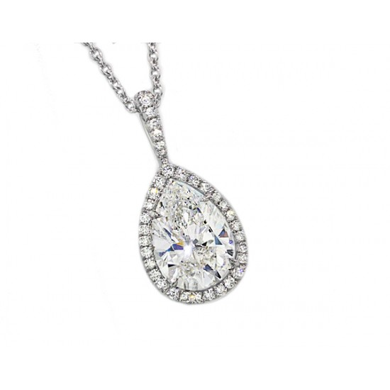 Handmade pave' halo pear diamond pendant