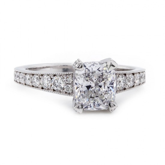 Elongated Cushion Cut Diamond Engagement Ring