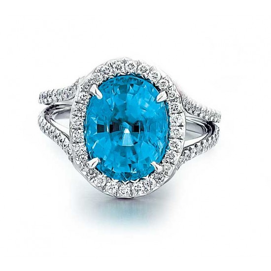 Blue Zircon split shank halo ring