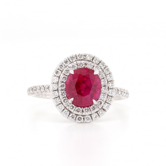 Round Ruby Diamond Halo Ring