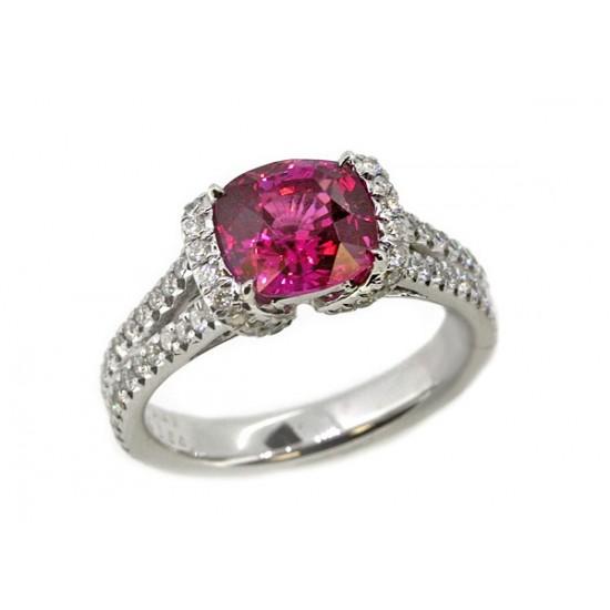 2.29ct cushion pink sapphire pave' diamond ring