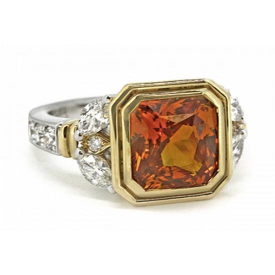 4.29ct orange/golden sapphire and diamond ring