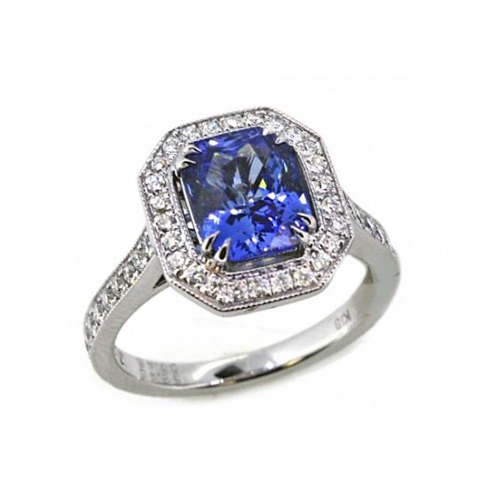 Cornflower blue sapphire engagement ring