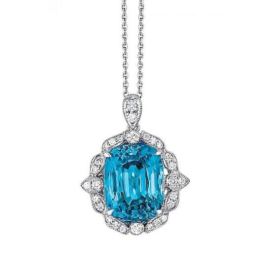 Custom made Blue Zircon Pendant in white gold