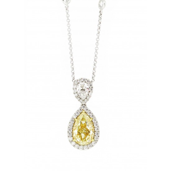Yellow diamond and white diamond double pear shape pendant