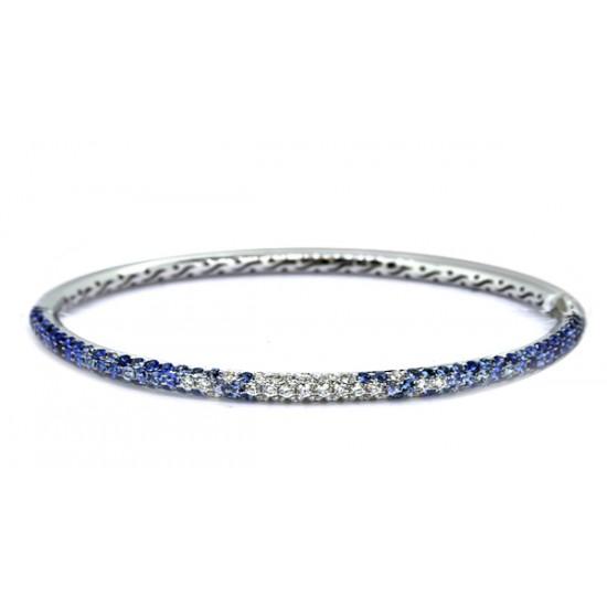 Pave' blue sapphire and diamond multi-row bracelet