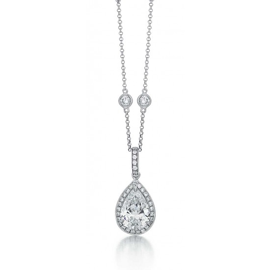 Pear shape diamond drop pendant with pave halo