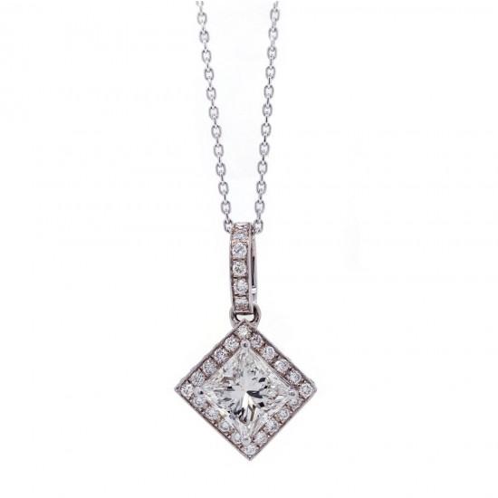 Princess Cut Diamond Deco Style Halo Pendant