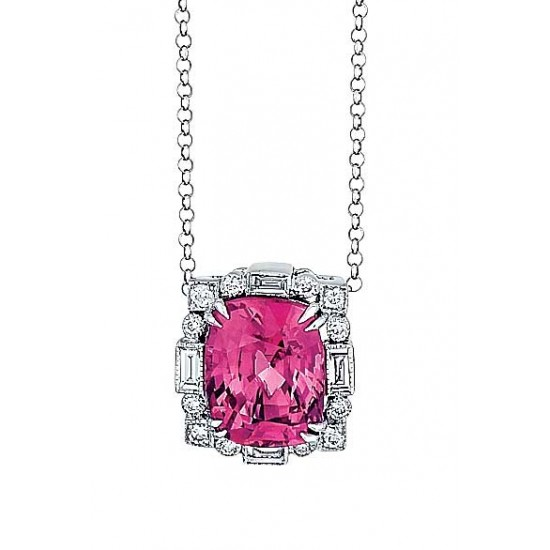 Pink spinel custom pendant in white gold