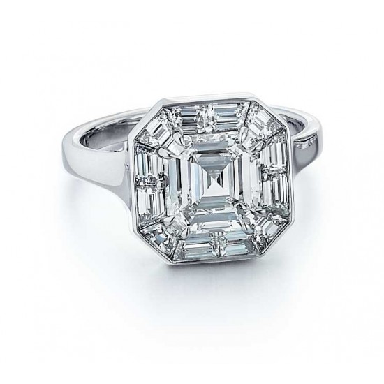Custom made Asscher cut diamond engagement ring