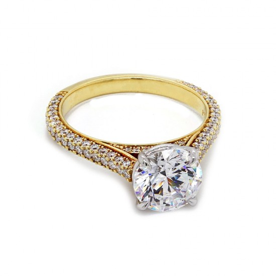 Handmade yellow gold w/ platinum crown 3-sided domed pave' engagement ring