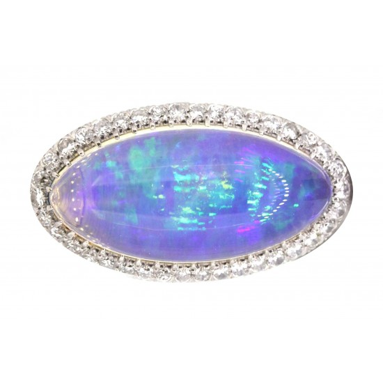 Estate platinum crystal opal and diamond ring