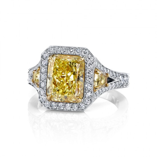 Fancy Intense Yellow Three Stone Diamond Ring