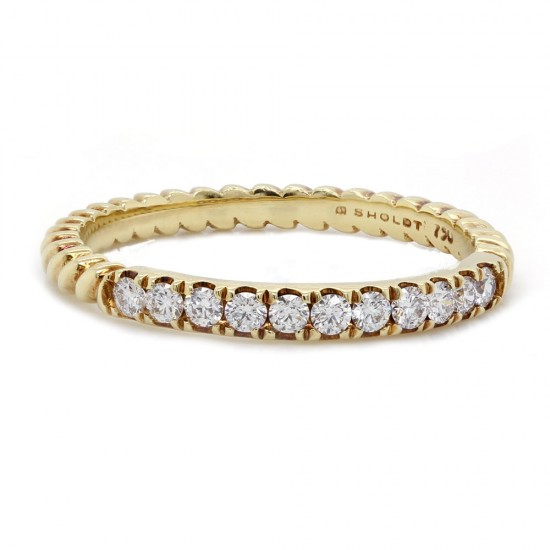 Sholdt Rope Design Diamond Wedding Band