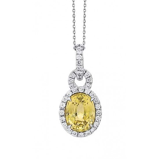 Yellow oval sapphire with diamond halo pendant