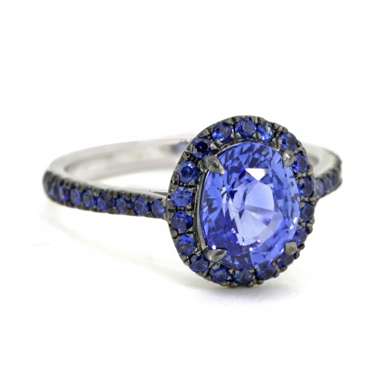 2.13ct oval sapphire with royal blue sapphire pave' halo ring