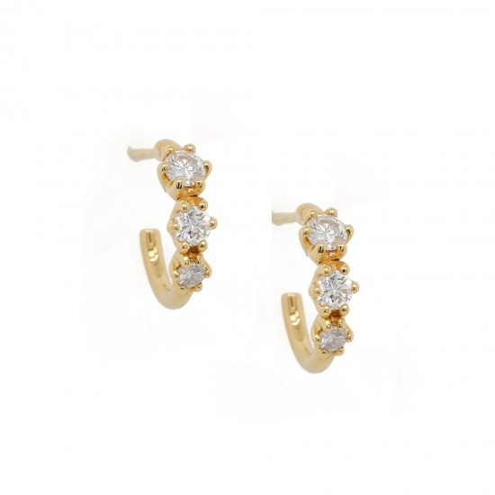 Yellow Gold Three Diamond Hoop Earrings