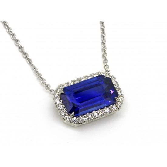 Custom 5.26ct emerald cut sapphire pave' diamond halo pendant