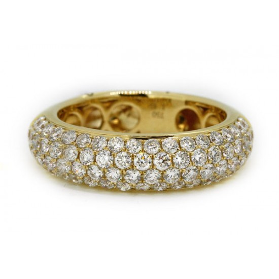 4 row domed pave' diamond band in 18k yellow gold
