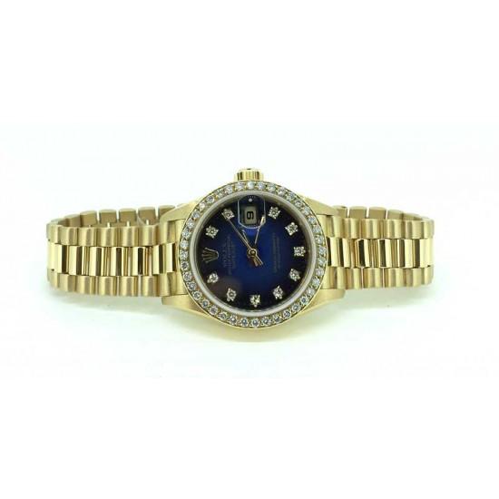 Rolex President Datejust diamond bezel diamond dial 26mm in 18k yellow gold