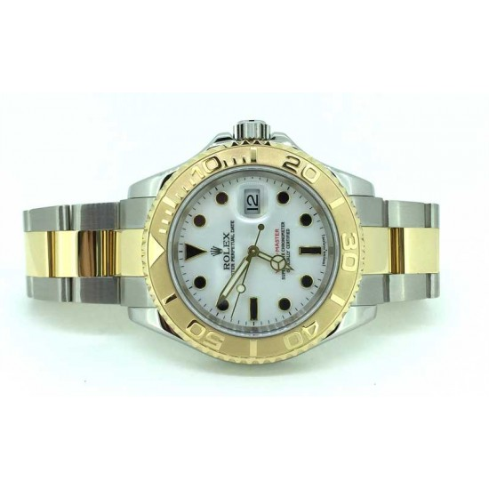 Rolex Yachtmaster in steel and eighteen karat yellow gold white dial