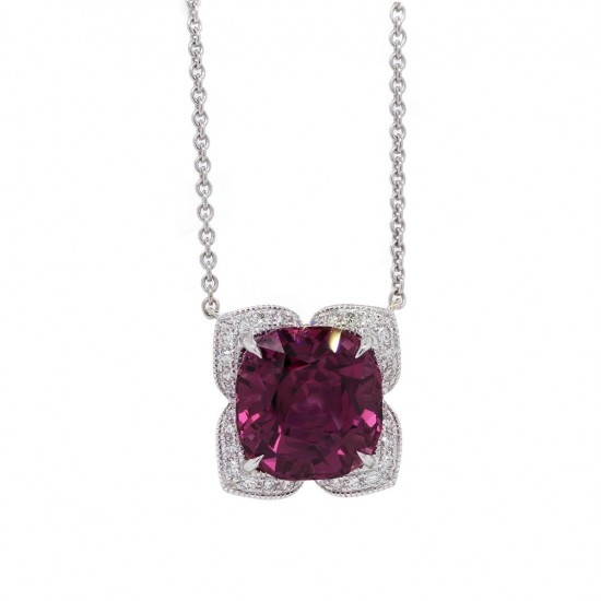 Spinel Pendant with Scalloped Halo