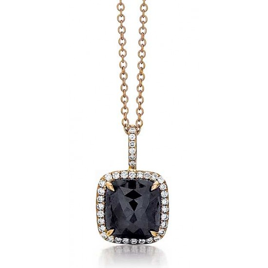 Black diamond pendant in rose gold with diamond halo
