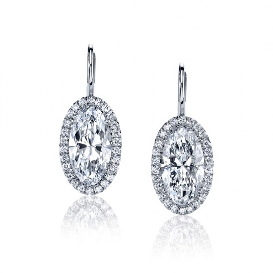 Oval Diamond Halo Earrings