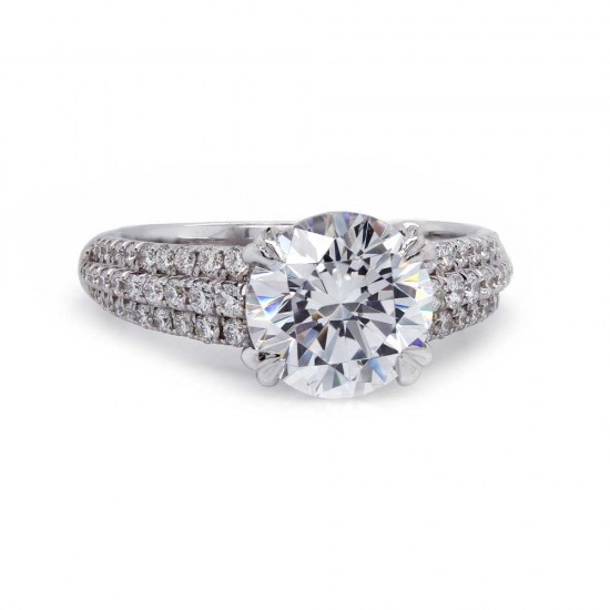 Three Row Pave Engagement Ring