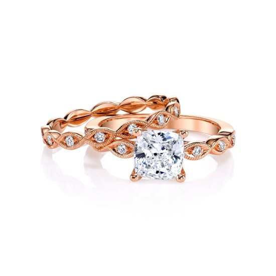 Jeff Cooper Rose Gold Wedding Set