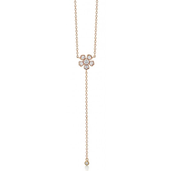 Rose Gold Flower Drop Necklace