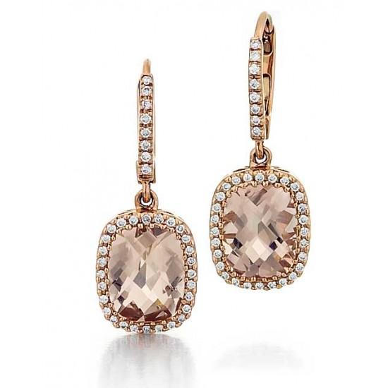Morganite and diamond dangle earrings