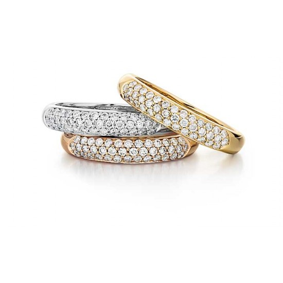 Three row pave bands in white yellow and rose gold