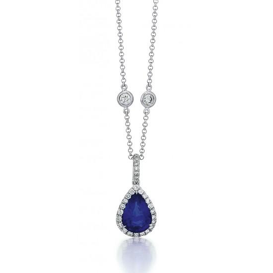 Pear Sapphire Halo Pendant