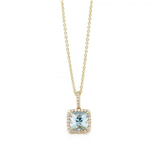 Cushion Aquamarine Diamond Halo Pendant