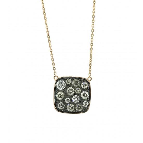Rose gold cushion shaped pave pendant