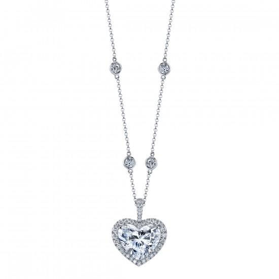 Heart Shaped Diamond Pendant with custom halo