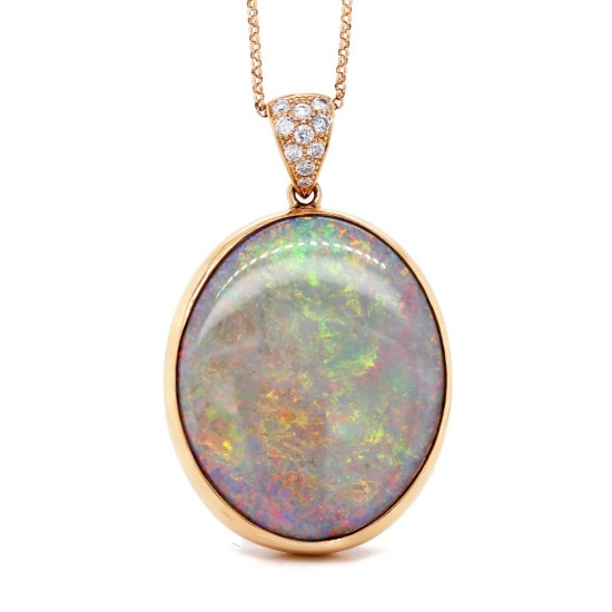 Opal and Diamond Rose Gold Pendant