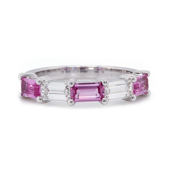 Pink Sapphire and Diamond Emerald Cut Ring