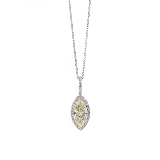 Yellow Diamond Marquise Halo Pendant