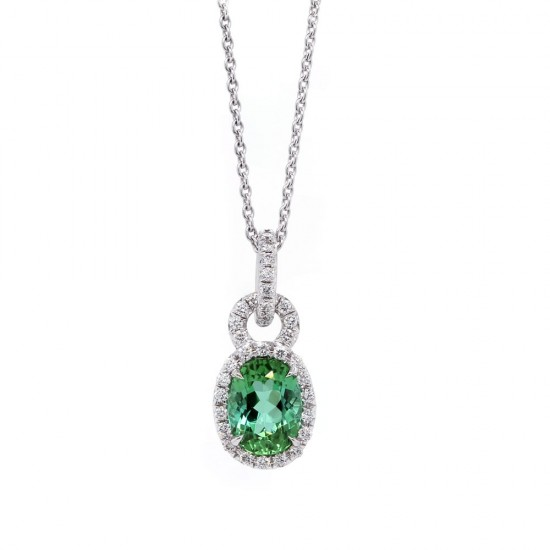 Green Tourmaline Diamond Halo Pendant