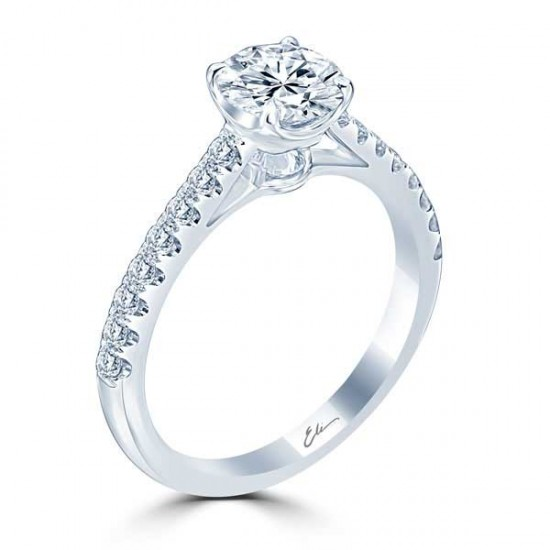 French Pave Engagement Ring with Inverted Diamond