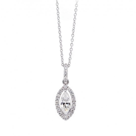 Marquise Diamond Halo Pendant