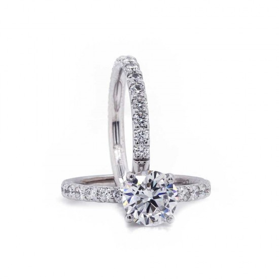 French Pave Diamond Wedding Set