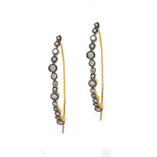 Marika Diamond Hoop Wire Earrings